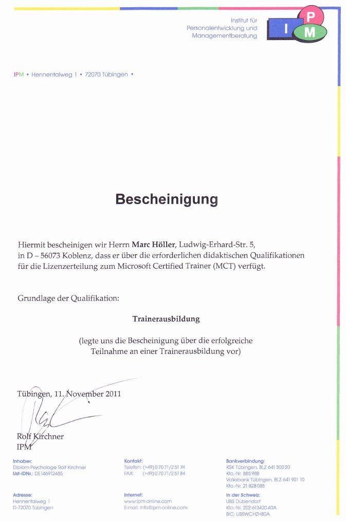 Zertifizierungen   Marc Höller